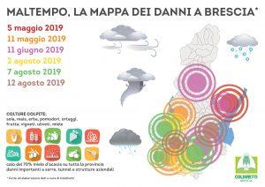 Mappa degli eventi atmosferici estremi e danni rilevati da Coldiretti Brescia