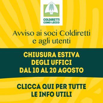 Chiusura estiva uffici Coldiretti Como-Lecco dal 10 al 20 agosto