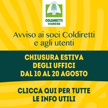 Chiusura estiva uffici Coldiretti Varese dal 10 al 20 agosto