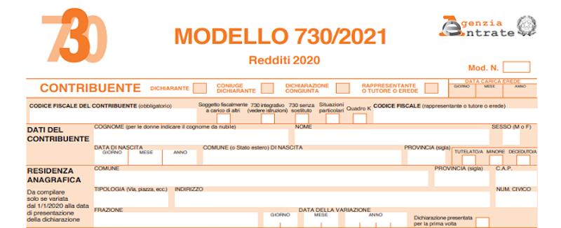 Campagna 730/2021: il modello